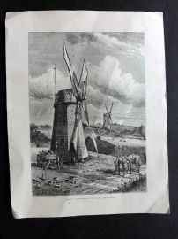 Voyages and Travels 1887 Antique Print. Grist Wind-Mills at East Hampton, USA